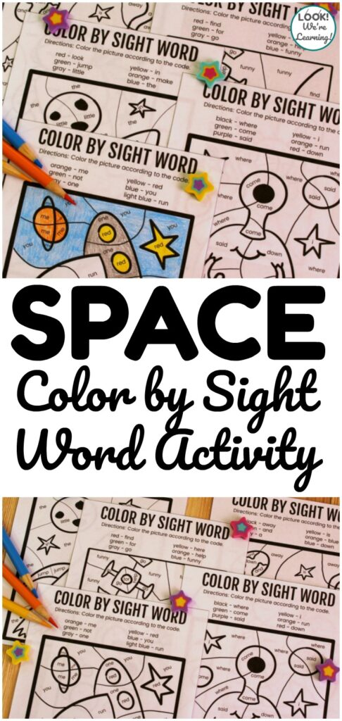 Practice early literacy skills and get some fun art practice with this Space Color by Sight Word Activity! Great for learning at home or in small literacy groups!