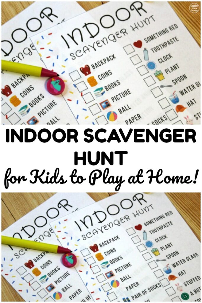 Pick up this free printable indoor scavenger hunt for a fun indoor play activity to share with the kids!