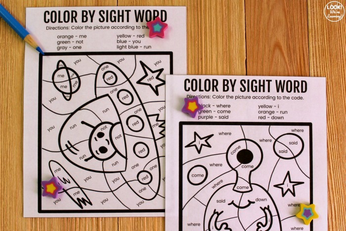 Printable Color by Sight Word Activity for Kids