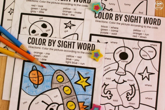 Printable Color by Sight Word Literacy Activity