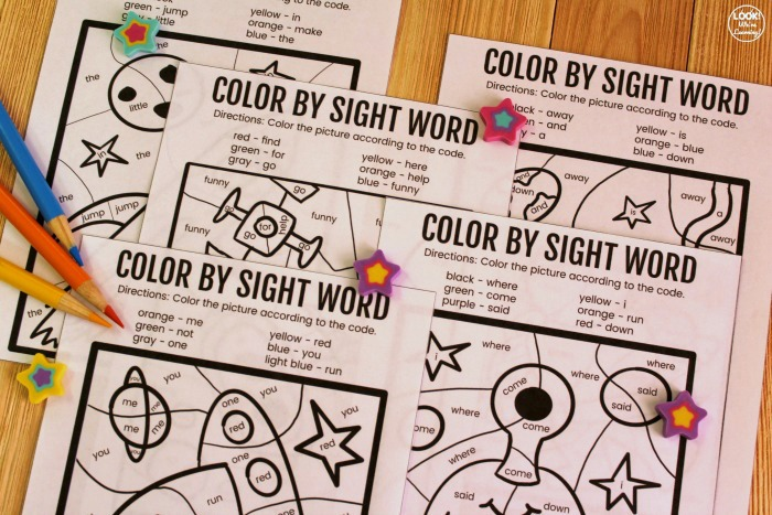 Printable Color by Sight Word Worksheets for Kids
