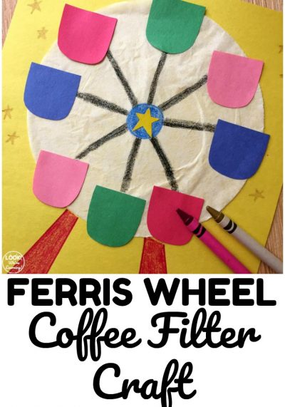 Share a simple craft for kids with this easy and fun Ferris Wheel Coffee Filter Craft!