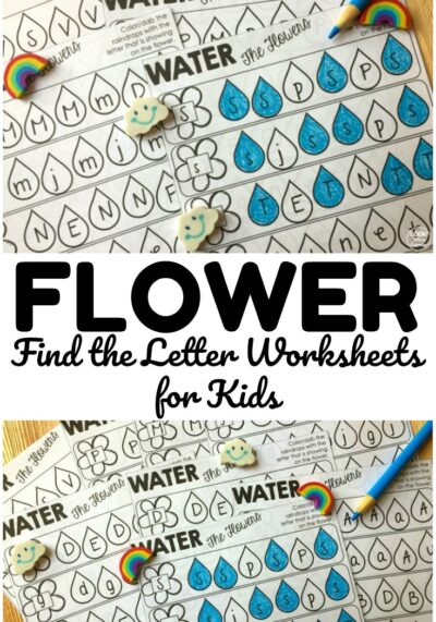 Share these flower themed find the letter worksheets with early learners! Great for practicing letter recognition!