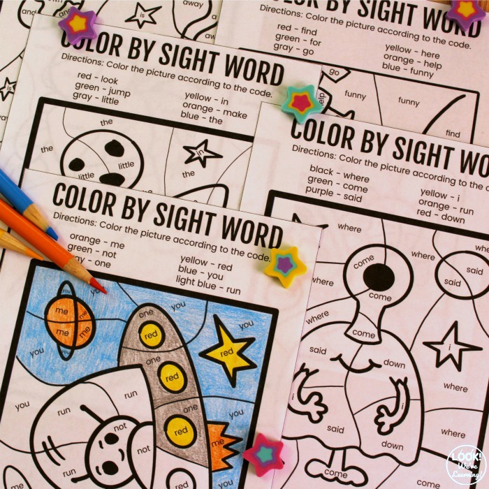 Space Color by Sight Word Activity for Kids