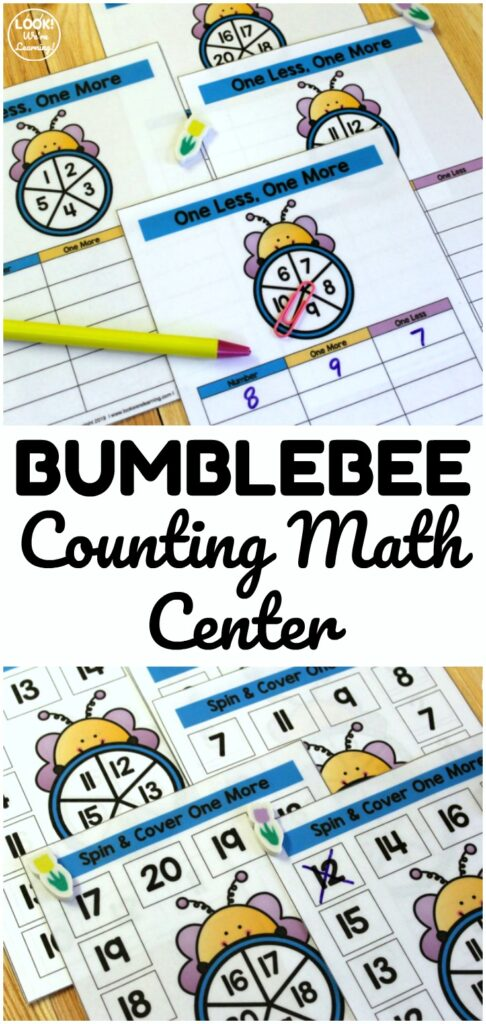 This cute bee themed counting math center is excellent for helping early students learn how to count one more and one less! Perfect for spring math centers!