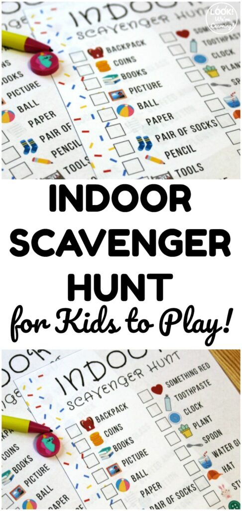 This free indoor scavenger hunt for kids is a fun way to play inside with little ones!