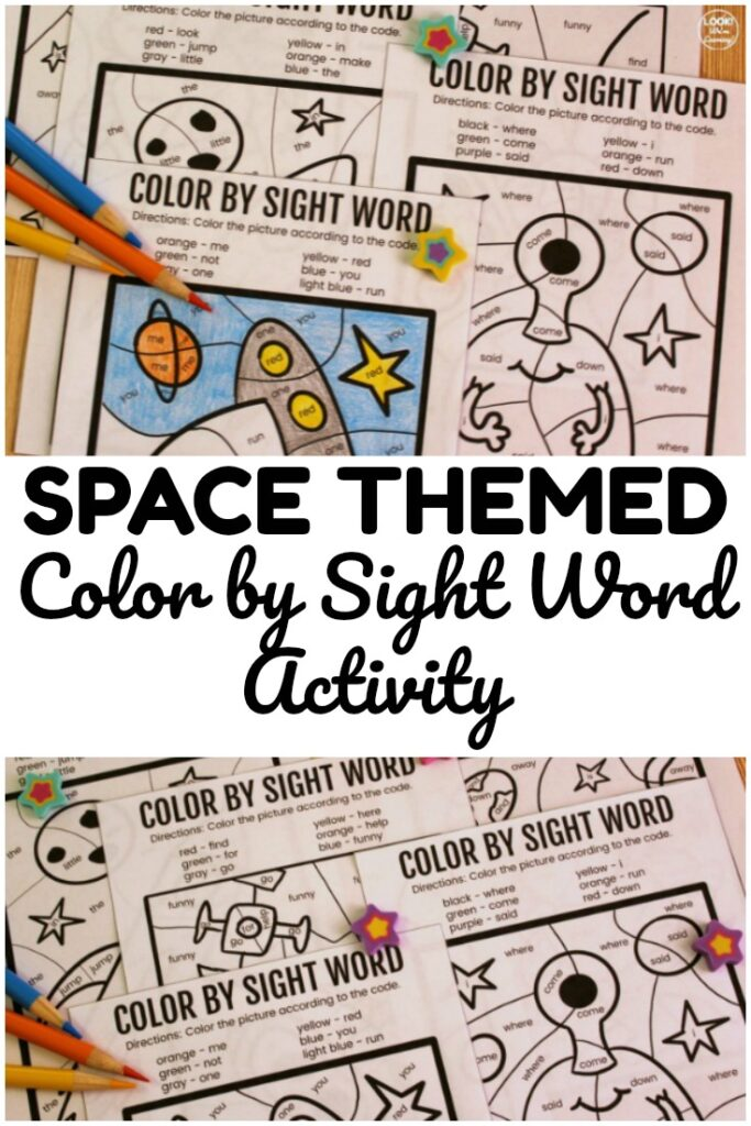 Use this printable Space Color by Sight Word Activity to help early readers practice literacy skills and have an art activity too!