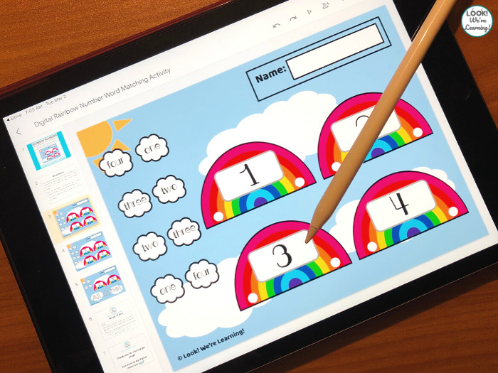 Digital Rainbow Number Word Matching Activity