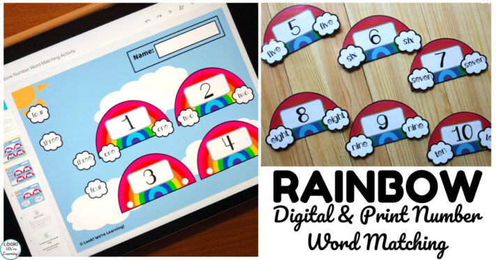 Digital and Print Rainbow Number Word Matching Activity