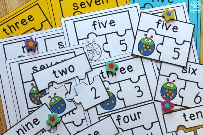 Ladybug Number Word Matching Puzzles