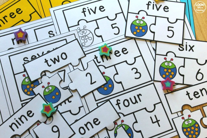 Ladybug Number Word Puzzles