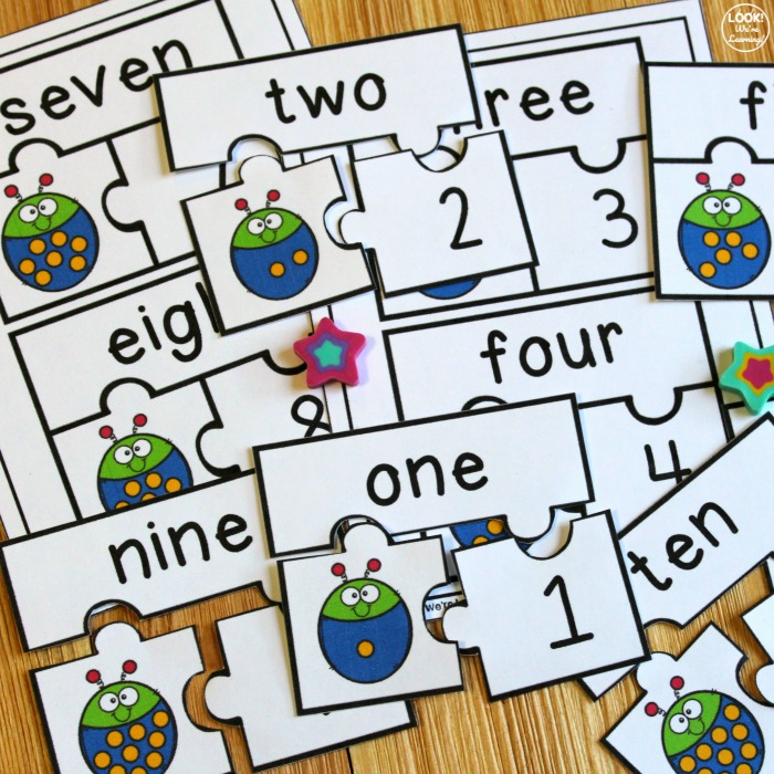 Ladybug Number Word and Number Puzzles for Kids