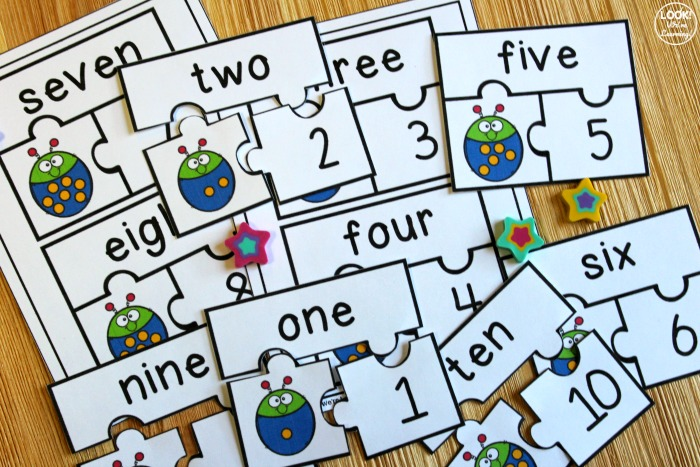 Ladybug Number and Number Word Matching Puzzles