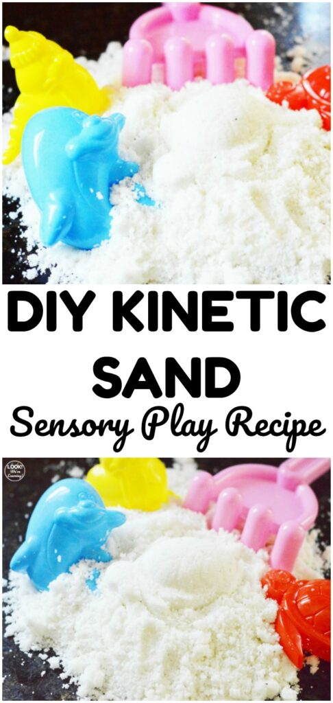 Make a batch of this simple DIY kinetic sand for a quick sensory play activity at home!