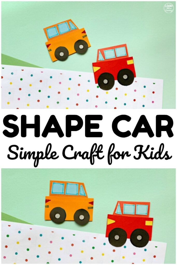 Make up this quick and easy shape car craft with the kids! Great for math and art in one simple activity!