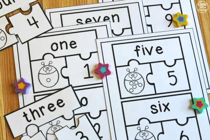 Number Word Matching Puzzles for Kids