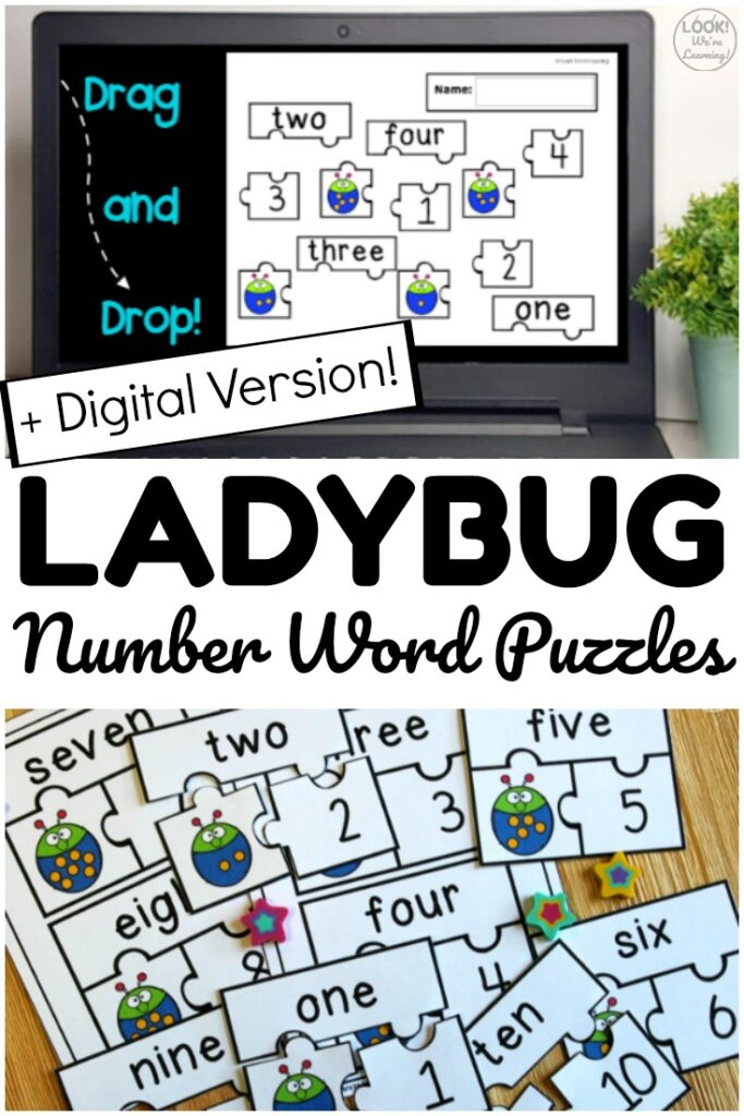 Pick up the digital and print versions of these ladybug number word puzzles to help early learners practice number recognition at math centers or at home!