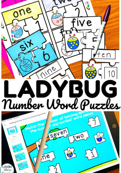 Pick up the printable or digital version of these ladybug number word puzzles to teach early counting skills!