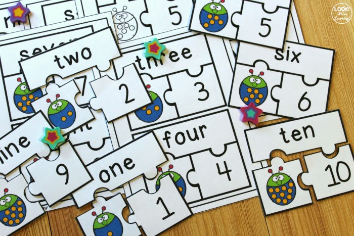 Printable Ladybug Number Word Puzzles