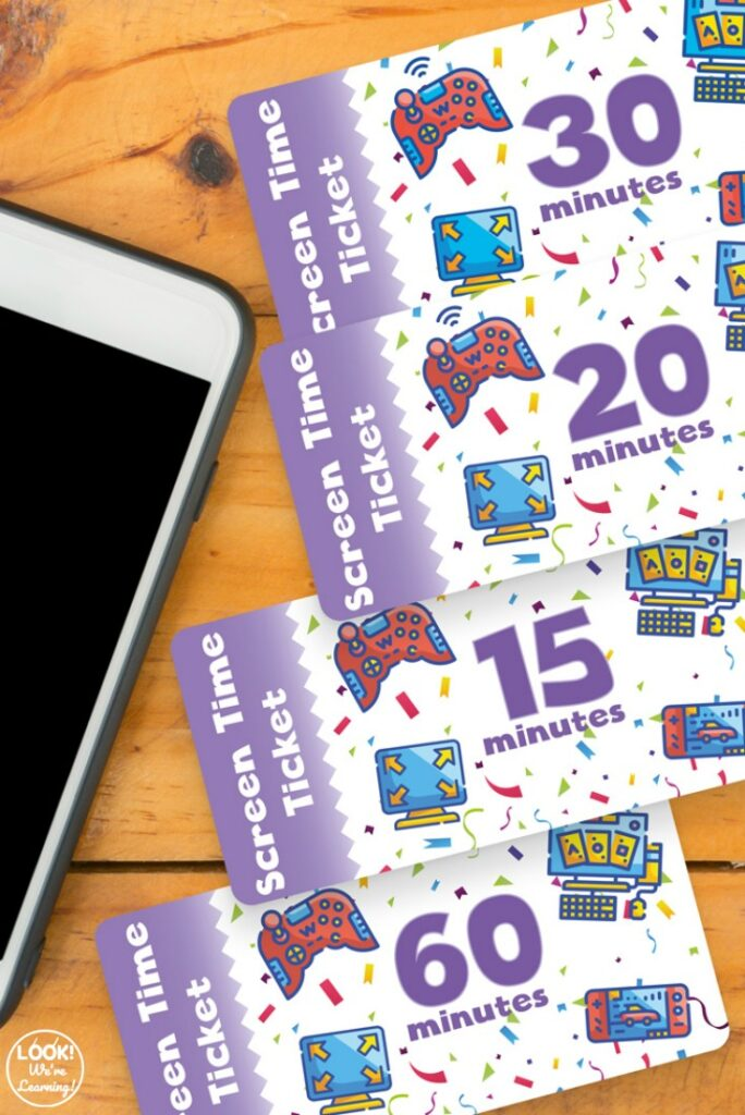 Printable Screen Time Tickets for Kids
