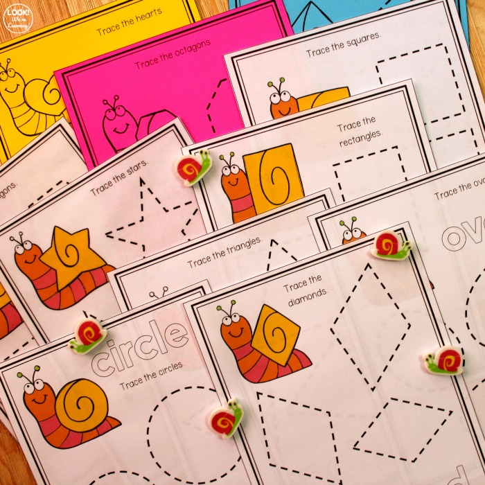 Printable Snail Themed Shape Tracing Worksheets