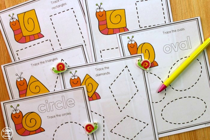 Printable Snail Themed Tracing Shapes Activity