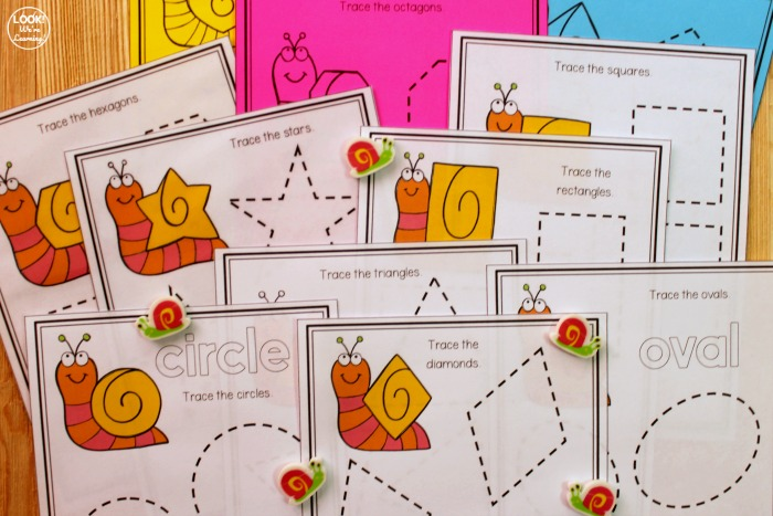 Snail Themed Shape Tracing Worksheets