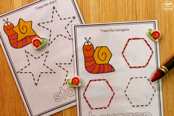 Snail Tracing Shapes Worksheets for Kids