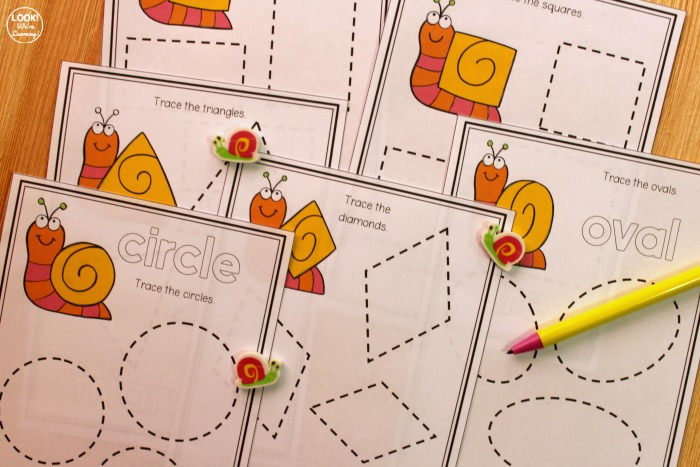 Snail Tracing Shapes Worksheets