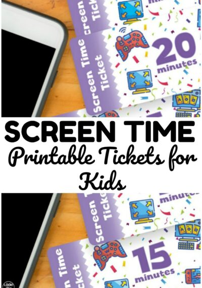 These simple screen time tickets for kids are an easy way to manage personal device time at home! Use them for classroom rewards too!