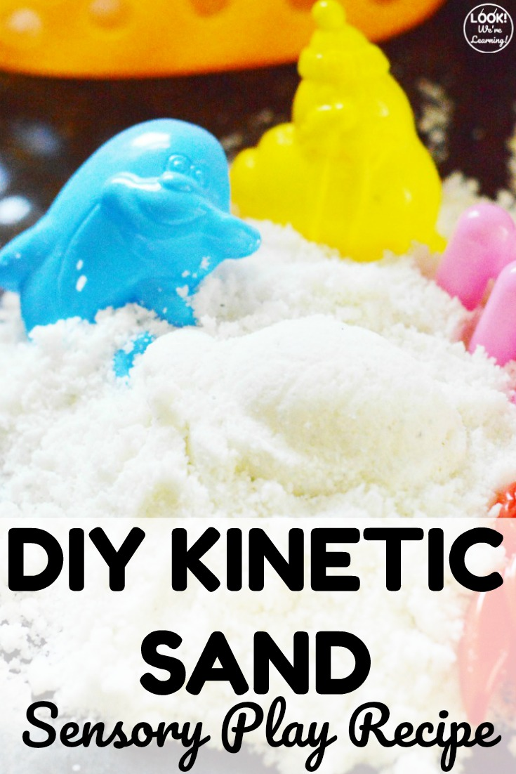 This easy DIY kinetic sand is such a fun way to play indoors with little ones! Perfect for sensory input too!