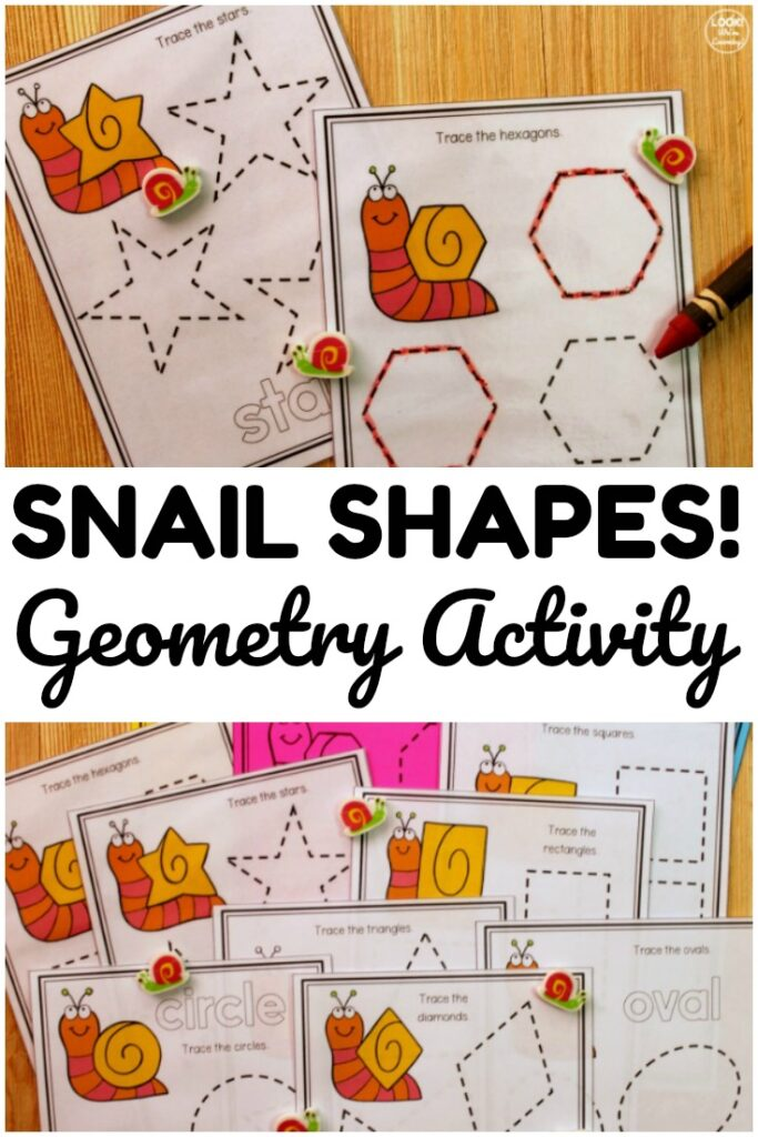 This printable snail themed geometry activity is a fun way to teach early learners a variety of 2D geometric shapes!