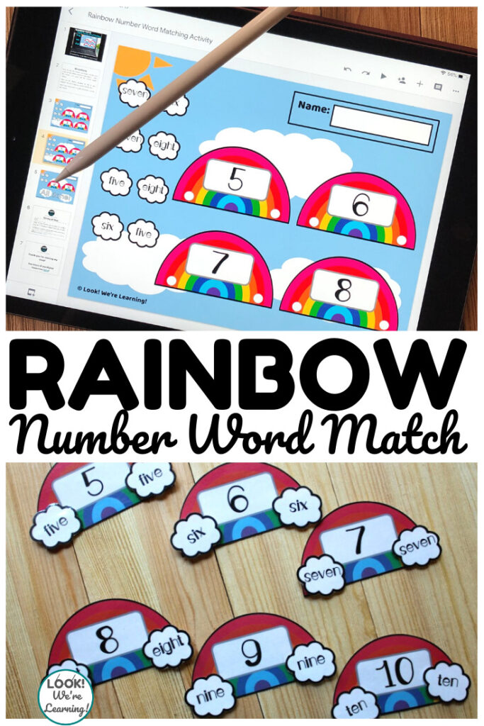 Use the digital or print version of this rainbow number word matching activity to help early learners recognize number words!