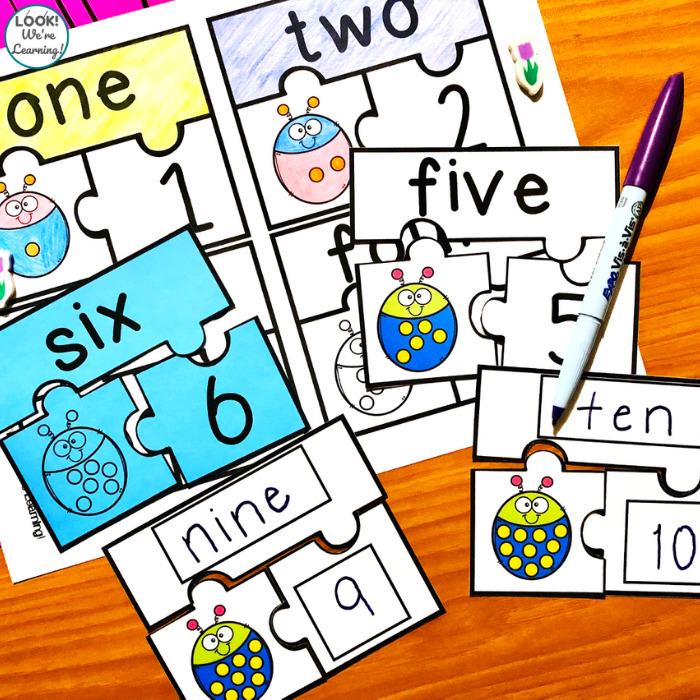 Write and Wipe Number Word Puzzles
