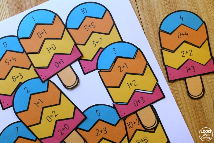 Addition Popsicle Puzzles for Kids