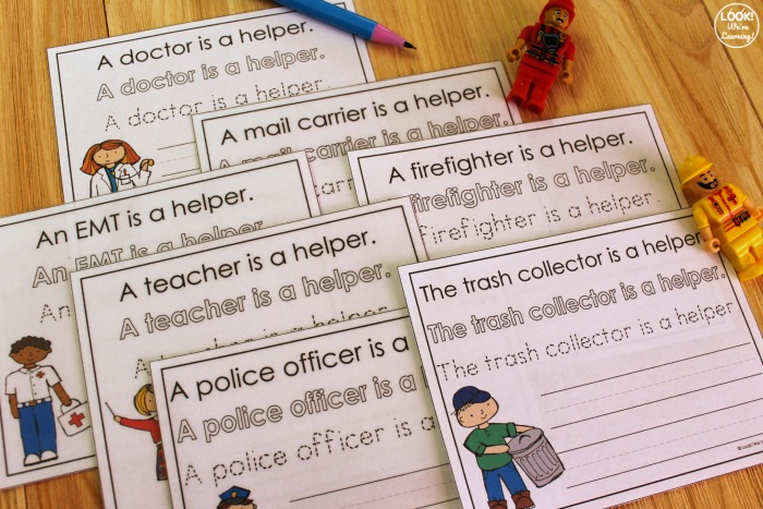 Community Helpers Sentence Writing Activity for Kids