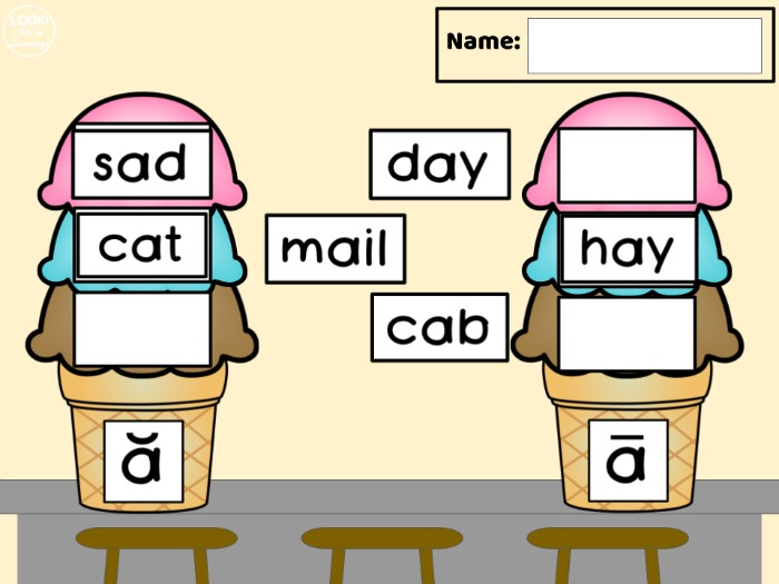 Digital Ice Cream Vowel Sound Sorting Activity for Early Readers