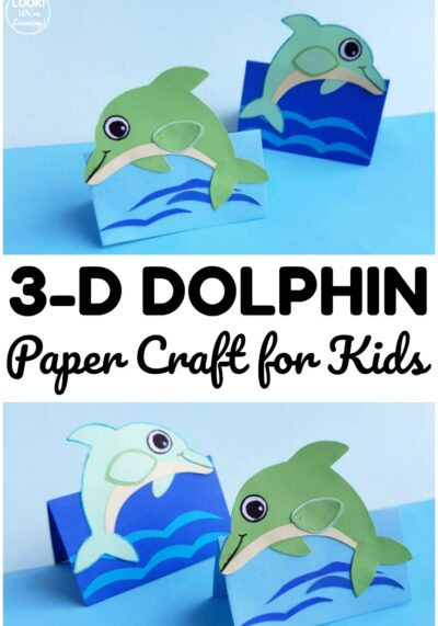 Make this fun and easy 3D paper dolphin craft for a fun art project to share with kids! Great for a summer art activity!