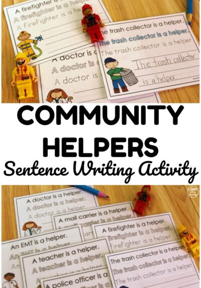 Pick up this printable community helpers sentence writing activity to help early writers learn about forming sentences and helpers in the neighborhood!