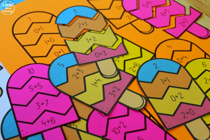 Popsicle Addition 1-12 Puzzles for Kids