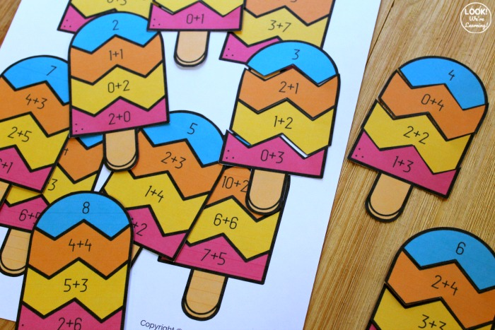 Popsicle Addition Matching Activity for Kids