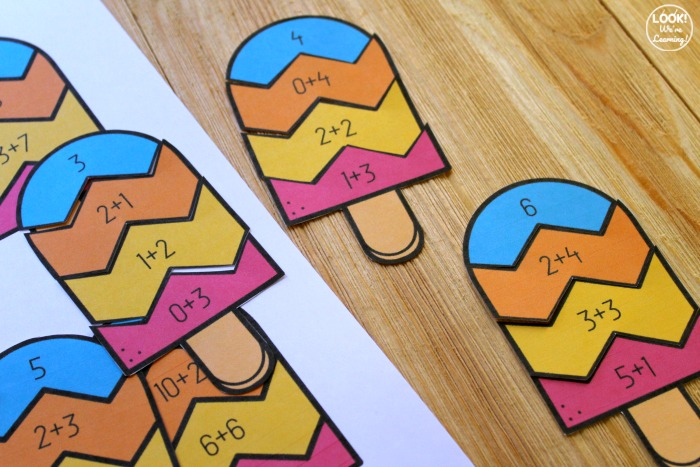 Popsicle Addition to Make 12 Puzzles