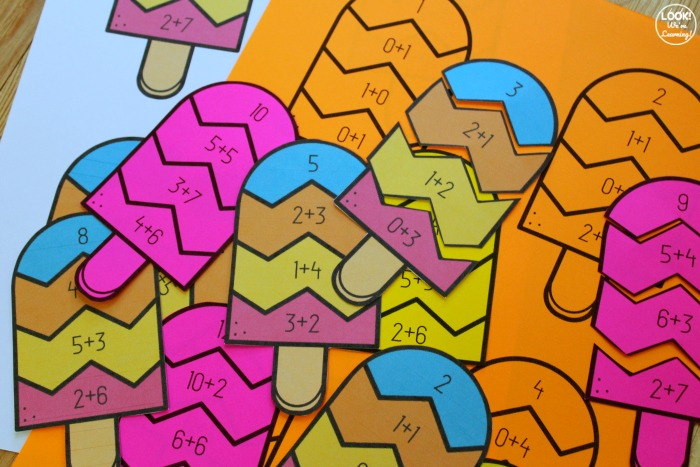 Popsicle Themed Addition Puzzles for Kids