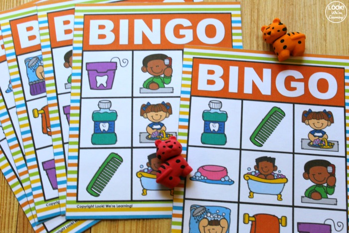 Printable English and Spanish Hygiene Bingo Game