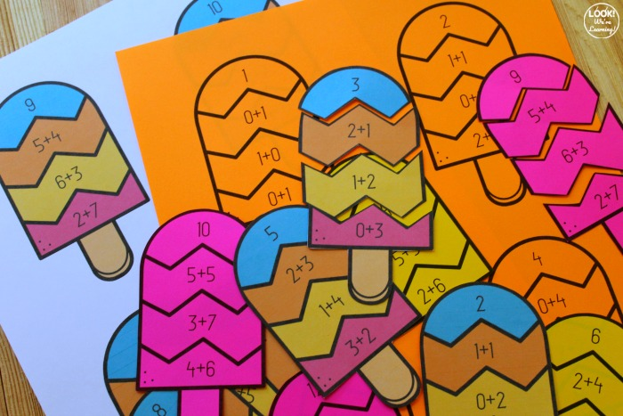 Printable Popsicle Addition Puzzles for Kids