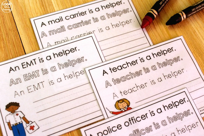 Simple Community Helpers Sentence Writing Printables