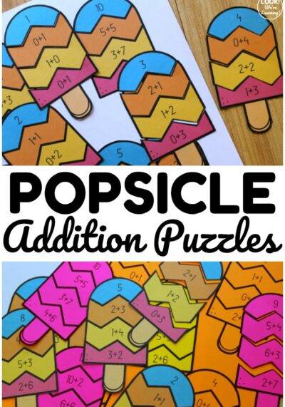 These popsicle themed addition to make 12 puzzles are a fun way to practice addition facts at math centers! Perfect for early elementary math practice!