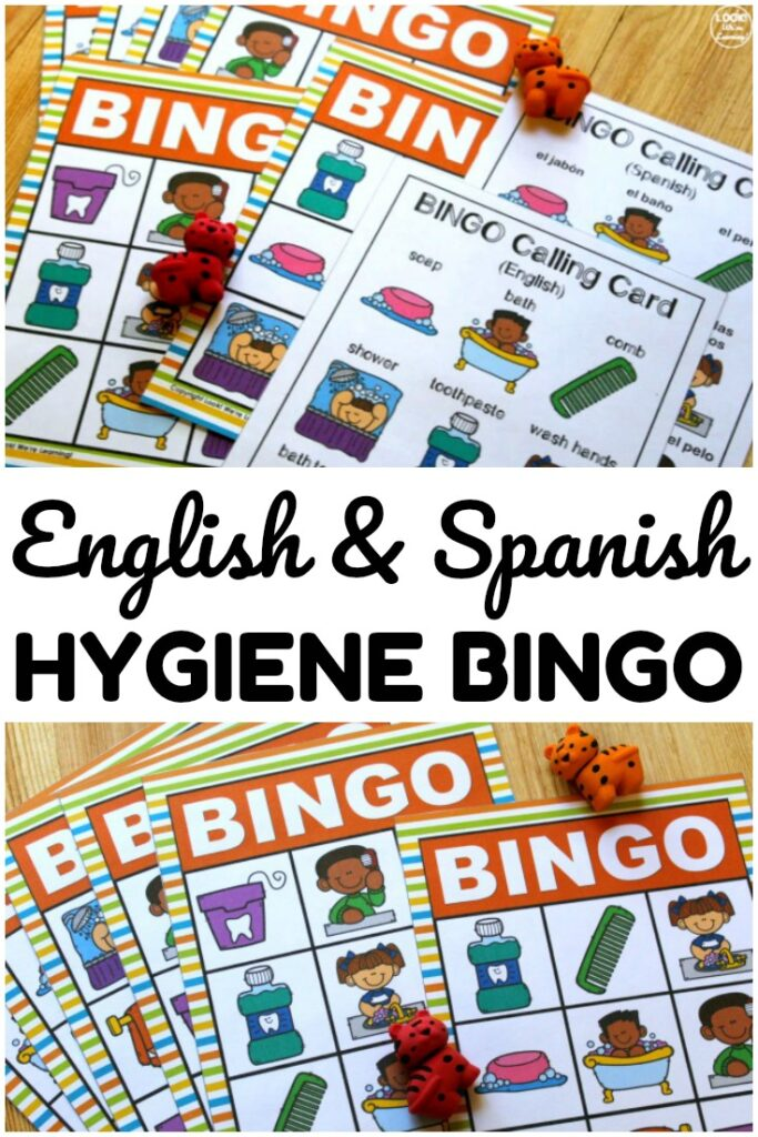 This English and Spanish hygiene bingo game is a fun way to help early learners build hygiene skills!