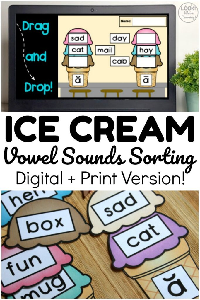 This digital and print ice cream vowel sounds sorting activity is a wonderful lesson for early readers! Use it online or as a hands-on activity at centers!