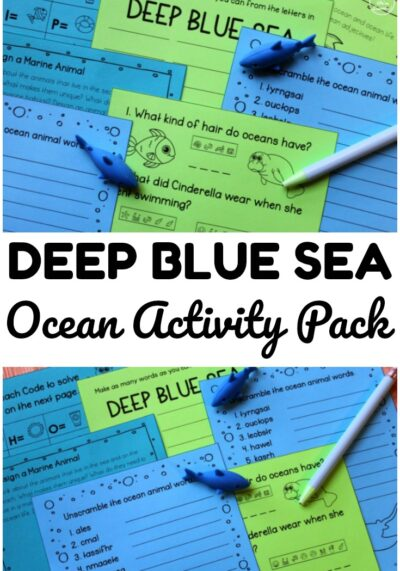 Use this printable Deep Blue Sea ocean activity pack to keep early elementary students practicing ELA concepts at home or over break!